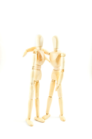 dummy wooden  friend together on white background Stock Photo