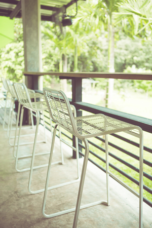 wicker bar: Cafe Chair in vintage retro tone Stock Photo