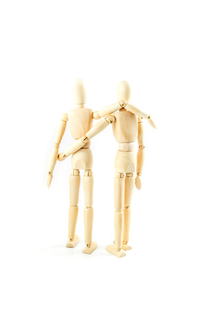 dummy wooden  friend together on white background 版權商用圖片