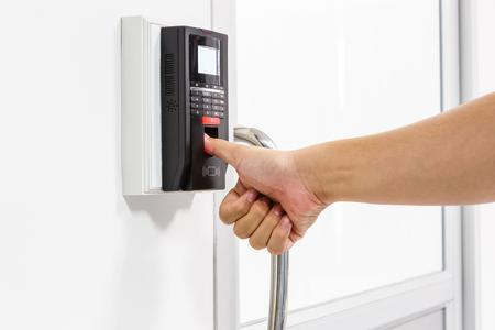 Finger print scan for unlock door security system Stock Photo