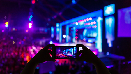 light show: Take photo concert in front of stage