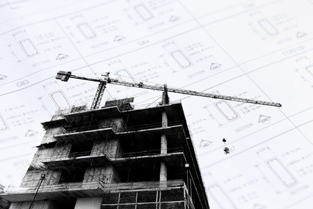 buildingsite: Construction site with cranes on silhouette background Stock Photo