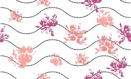 Flower scribble pattern. Romantic artistic textile vector print surface design.