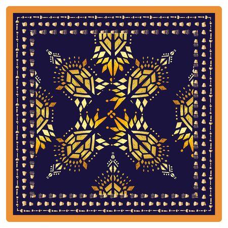 Square scarf ethnic ornate print silk.  Shawl ornament carpet.