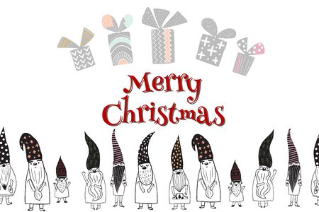 Merry Christmas letters, Seasons greetings , cute Christmas gnomes in hand - drawn scandinavian hats