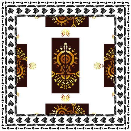 Square scarf ethnic ornate print silk.  Shawl ikat  embroidery autentic ornament carpet.