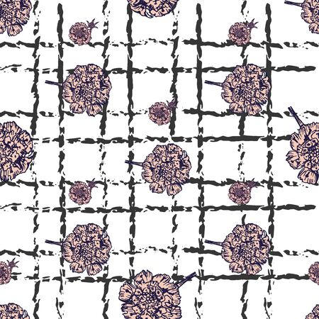 Hand- drawn astra flowers seamless pattern on sketch line ornament background for fabric or surface design.