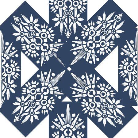 Square scarf ethnic ornate print silk. Shawl ikat embroidery autentic ornament carpet design