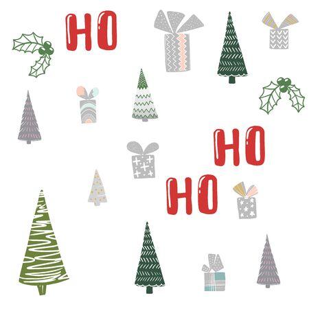 X-mas seamless pattern with text ho ho ho. Hand lettering greeting Christmas Santa laugh. Vector illustration