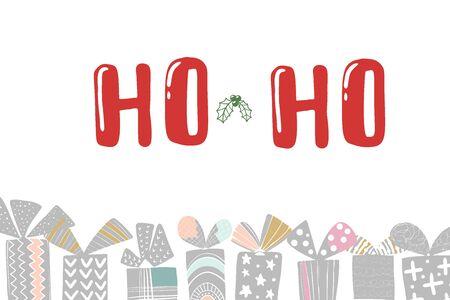 X-mas gift card with text ho ho ho. Hand lettering greeting Christmas Santa laugh. Vector illustration