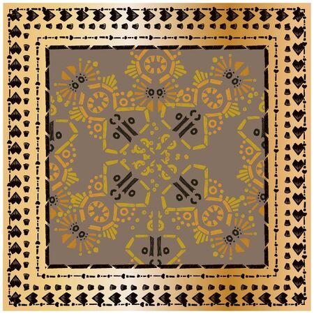 Square scarf ethnic ornate print silk.  Shawl ornament carpet.   일러스트