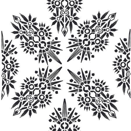 Square scarf ethnic ornate print silk. Shawl ikat embroidery autentic ornament carpet  イラスト・ベクター素材
