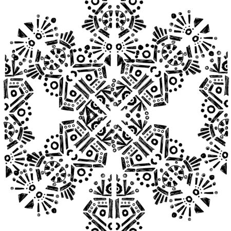 Square scarf ethnic ornate print silk. Shawl pattern ornament carpet.
