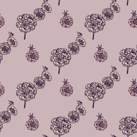 Hand- drawn astra flowers seamless pattern on color background for fabric or surface design.