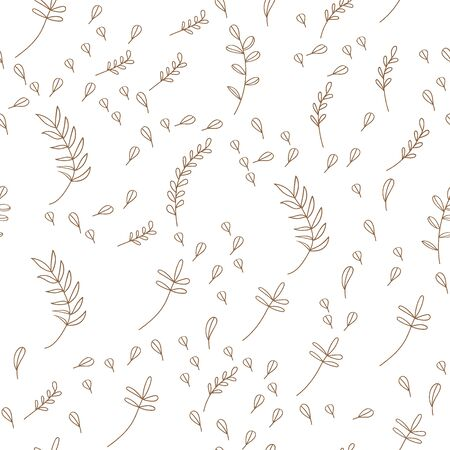 Vector Leaves branch. Field foliage seamless pattern. Exotic tropical garden outline. Leaf plant botanical floral foliage. Engraved ink art. Seamless background pattern. Fabric wallpaper print texture. Ilustração