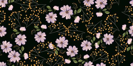 Fashionable cute pattern in nativel flowers. Floral seamless background for textiles, fabrics, covers, wallpapers, print, gift wrapping or any purpose
