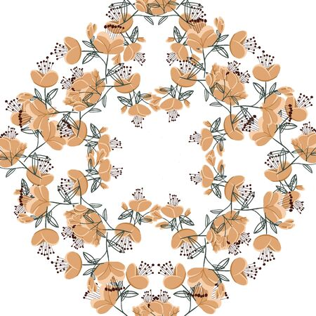 Magical floral circle decor plants background. Simple abstract flower Vettoriali