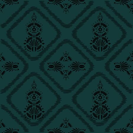 Square scarf ethnic ornate print silk.  Shawl ikat  embroidery autentic fabric ornament carpet.