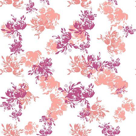 Flower scribble pattern. Romantic artistic textile vector print surface design. Foto de archivo - 137894146