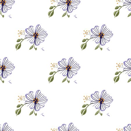 Seamless pattern with colorful hand drawn flowers. Original textile, wrapping paper, wall art surface design. Vector illustration. Floral simple minimalistic graphic design.