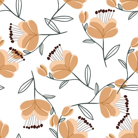 Seamless pattern with colorful hand drawn flowers. Original textile, wrapping paper, wall art surface design. Vector illustration. Illusztráció