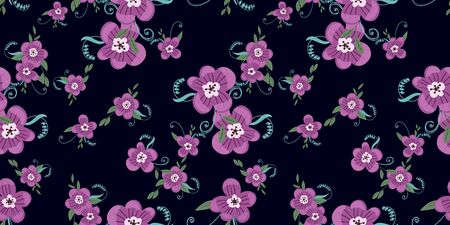 Seamless pattern with colorful hand drawn flowers. Original textile, wrapping paper, wall art surface design. Vector illustration.