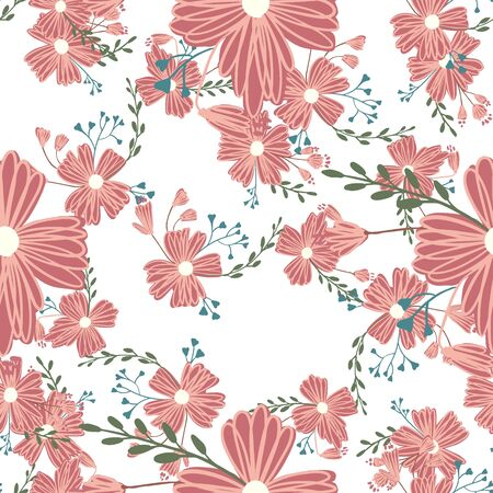 Simple cute floral bouquet vector pattern with small and medium flowers and leaves