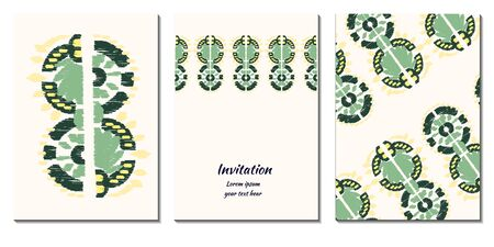 Cover royal greeting design. Modern template with ikat ornament for wedding design or greeting card any purpose. Vector vertical card decor. Ethnic background