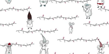 Kids seamless pattern with mouse. Cute Scandinavian minimal design.