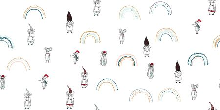 Kids seamless pattern with mouse and rainbow. Cute Scandinavian minimal design