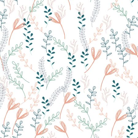 Trendy outline native foliage and leaves seamless pattern. Small and medium elements paradise flora leaves.Vector illustration.