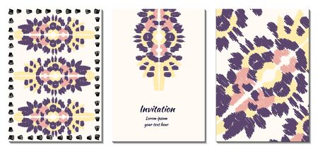 Cover royal greeting design. Modern template with ikat ornament for wedding design or greeting card any purpose.