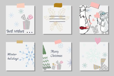 Set gift card template with cute cartoon mouses. Holiday positive print postcard Ilustracja