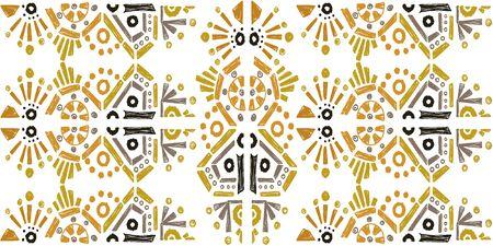 ikat color etnical tribal hand - drawn pattern navajo motif for packing, wallpaper, batik Ilustração