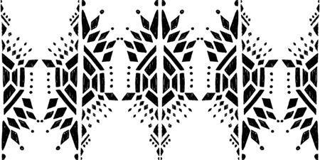 Ikat pattern etnic indian ornamental black and white illustration. Navajo motif texture ornate  design for surface print background