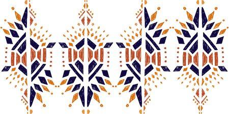 ikat color etnical tribal hand - drawn pattern navajo motif for packing, wallpaper, batik.