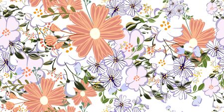 Seamless pattern in small and medium flowers. Small colorful flowers. Ditsy elegant floral background. Template for fashion prints