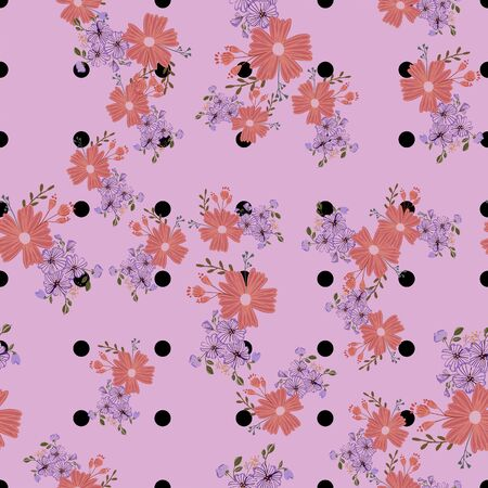 Seamless pattern with colorful hand drawn flowers. Original textile, wrapping paper, wall art surface design. Vector illustration. Floral simple minimalistic graphic design