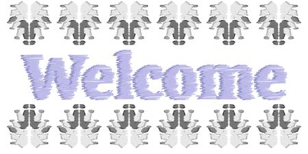 Welcome Sign Design Illustration. Decoration banner invitation in abstract ikat elements
