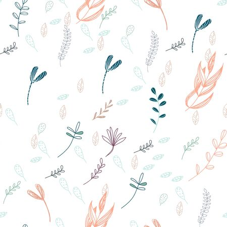 Trendy outline native foliage and leaves seamless pattern. Small and medium elements paradise flora leaves.Vector illustration
