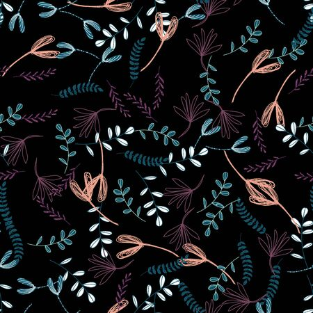 Trendy outline native foliage and leaves seamless pattern. Small and medium elements paradise flora leaves.Vector illustration. on black background