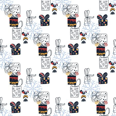 Pattern with christmas gift boxes. Beautiful present box on surface design. Wrapped beautiful scandinavian style gifts gift boxes.Cute present box with gift card nordic hygge Ilustrace