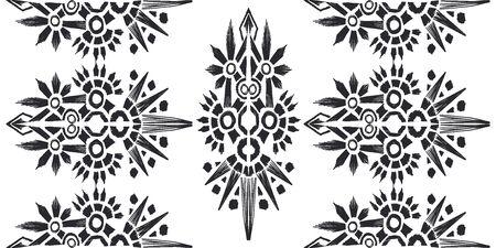Ikat pattern etnic indian ornamental black and white illustration. Navajo motif texture ornate  design for surface print. Black and white background