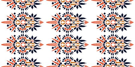 Nice native hand-drawn ikat geometric background - Ethnic folk pattern. Tribal embroidery background