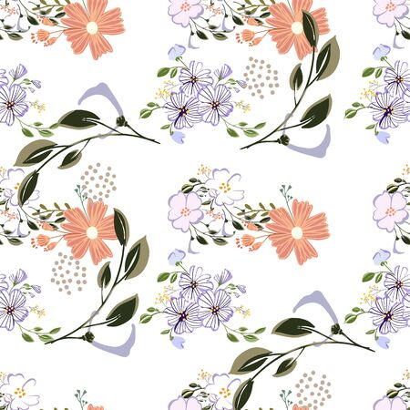 Seamless floral pattern. Flowers texture. Simplicity flower surface pattern design. Ditsy print textile.