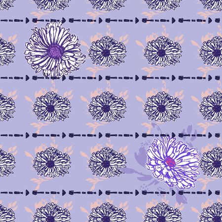 Romantic beautiful linear flowers of daisies. Print wrapping monochrome. Organic vector pattern background. With hand-drawn elements in the background