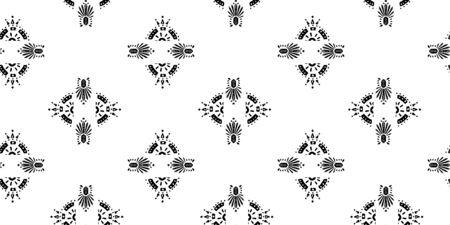 Ikat patrón étnico indio ornamental ilustración en blanco y negro. Diseño adornado de textura de motivo Navajo para impresión de superficie.
