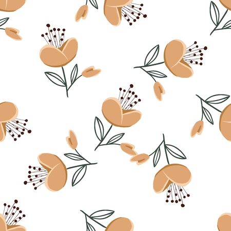 Fashionable cute pattern in nativel flowers. Floral seamless background for textiles, fabrics, covers, wallpapers, print, gift wrapping or any purpose Vecteurs