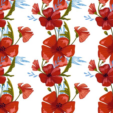 seamless pattern simple  red poppies. Scattered red flowers  vector pattern background. 免版税图像 - 139536868
