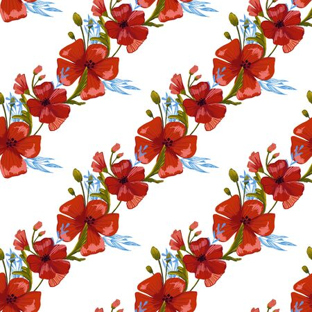 seamless pattern simple  red poppies. Scattered red flowers  vector pattern background.